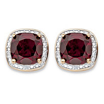 3.20 TCW Genuine Red Garnet and Diamond Accent Pave-Style Halo Stud Earrings in 14k Gold over Sterling Silver