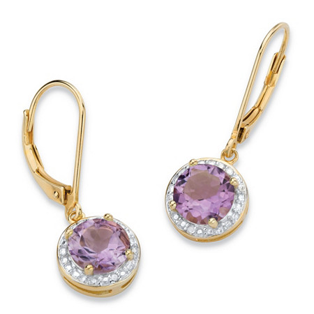 2.60 TCW Genuine Purple Amethyst and Diamond Accent Pave-Style Halo Drop Earrings in 14k Gold over Sterling Silver at PalmBeach Jewelry