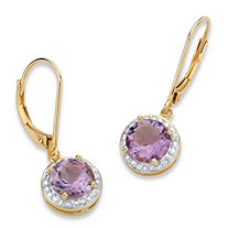 SETA JEWELRY 2.60 TCW Genuine Purple Amethyst and Diamond Accent Pave-Style Halo Drop Earrings in 14k Gold over Sterling Silver