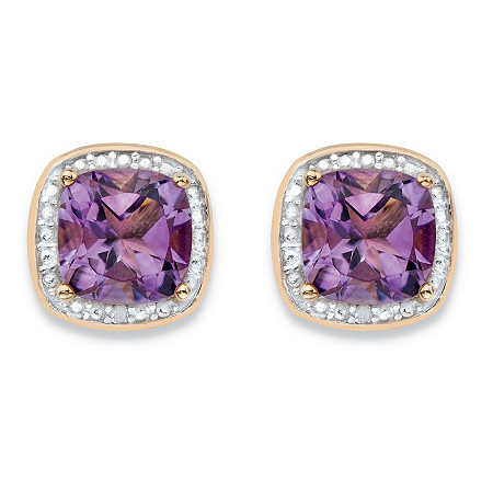 2.80 TCW Genuine Purple Amethyst and Diamond Accent Pave-Style Halo Stud Earrings in 14k Gold over Sterling Silver at PalmBeach Jewelry