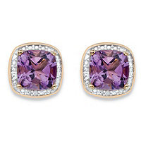 2.80 TCW Genuine Purple Amethyst and Diamond Accent Pave-Style Halo Stud Earrings in 14k Gold over Sterling Silver