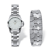 SETA JEWELRY Men's Gianello 2-Piece Watch and Bracelet Set with White Dial and Fold Over Clasp in Stainless Steel 8