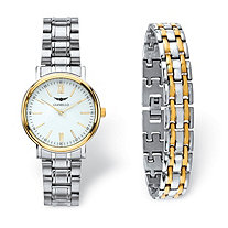 Men's Gianello Two-Tone 2-Piece Watch and Panther-Link Bracelet Set with White Face and Fold Over Clasp in Stainless Steel 8""
