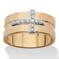 Men's Diamond Accent Horizontal Cross Grooved Ring Band 14k Yellow Gold-Plated