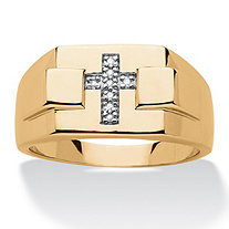 Men's White Diamond Accent Squared Cross Ring 14k Yellow Gold-Plated