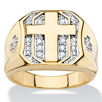 SETA JEWELRY Men's 1/5 TCW Round Diamond Pave-Style Octagon Cross Ring 14k Yellow Gold-Plated