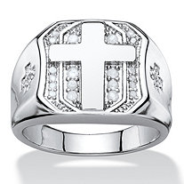 SETA JEWELRY Men's 1/5 TCW Round Diamond Pave-Style Octagon Cross Ring in Silvertone