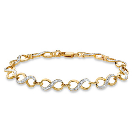 Diamond Accent Two-Tone Infinity-Link Bracelet 14k Yellow Gold-Plated 7.5