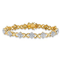 "Diamond Accent Pave-Style ""X and O"" Tennis Bracelet 14k Yellow Gold-Plated 7.5"""