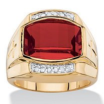 Men's 5.61 TCW Cushion-Cut Created Red Ruby and Diamond Ring 18k Yellow Gold-Plated