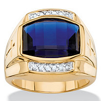 SETA JEWELRY Men's 5.61 TCW Cushion-Cut Created Blue Sapphire and Diamond Ring 18k Yellow Gold-Plated