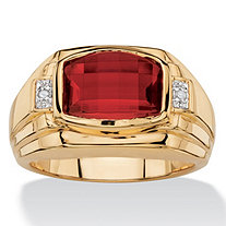 Men's 2.20 TCW Cushion-Cut Created Red Ruby and Diamond Accent Ring 18k Yellow Gold-Plated