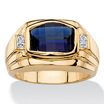Men's 2.20 TCW Cushion-Cut Created Blue Sapphire and Diamond Accent Ring 18k Yellow Gold-Plated