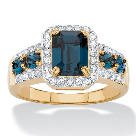 .25 TCW Emerald-Cut Simulated Blue Sapphire and Cubic Zirconia Halo Cocktail Ring 18k Yellow Gold-Plated at PalmBeach Jewelry