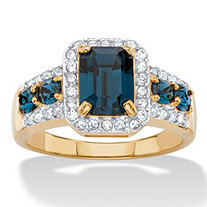 .25 TCW Emerald-Cut Simulated Blue Sapphire and Cubic Zirconia Halo Cocktail Ring 18k Yellow Gold-Plated