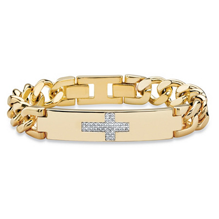 Men's 1/7 TCW White Diamond Horizontal Cross Curb-Link Bracelet 14k Yellow Gold-Plated 9