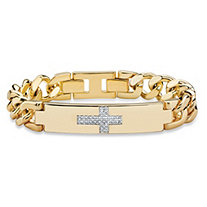 Men's 1/7 TCW White Diamond Horizontal Cross Curb-Link Bracelet 14k Yellow Gold-Plated 9""