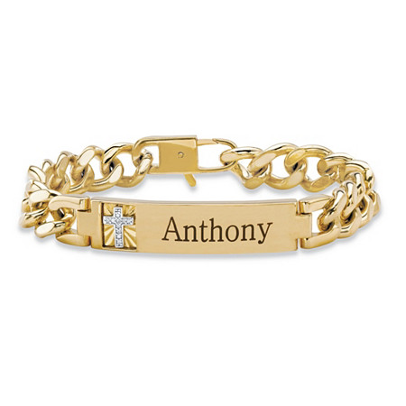 "Men's Diamond Accent Personalized Curb-Link Cross Bracelet 14k Yellow Gold-Plated 8"" at PalmBeach Jewelry"