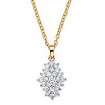 "1.77 TCW Round White Cubic Zirconia Cluster Pendant Necklace 14k Gold-Plated 18""-20"""