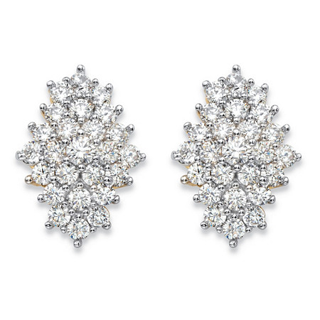 2.92 TCW Round White Cubic Zirconia Cluster Stud Earrings 14k Gold-Plated at PalmBeach Jewelry