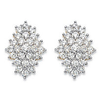 SETA JEWELRY 2.92 TCW Round White Cubic Zirconia Cluster Stud Earrings 14k Gold-Plated