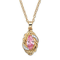 "2.08 TCW Marquise-Cut Pink Cubic Zirconia Ribbon Pendant Necklace 14k Yellow Gold-Plated 18""-20"""
