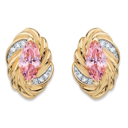 2.10 TCW Marquise-Cut Pink Cubic Zirconia Ribbon Stud Earrings 14k Yellow Gold-Plated at PalmBeach Jewelry