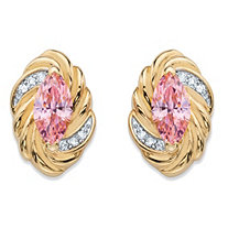 2.10 TCW Marquise-Cut Pink Cubic Zirconia Ribbon Stud Earrings 14k Yellow Gold-Plated
