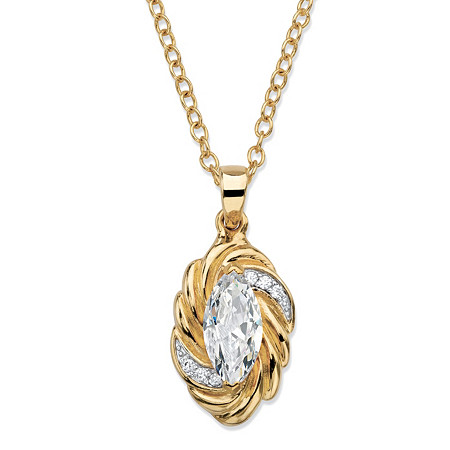 2.08 TCW Marquise-Cut White Cubic Zirconia Ribbon Pendant Necklace 14k Yellow Gold-Plated 18
