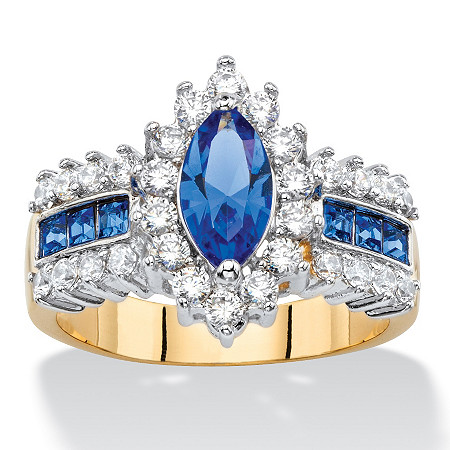 Marquise-Cut Simulated Blue Sapphire and Cubic Zirconia Halo Cocktail Ring 3 TCW 14k Yellow Gold-Plated at PalmBeach Jewelry