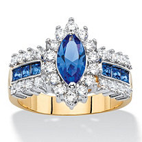 SETA JEWELRY Marquise-Cut Simulated Blue Sapphire and Cubic Zirconia Halo Cocktail Ring 3 TCW 14k Yellow Gold-Plated
