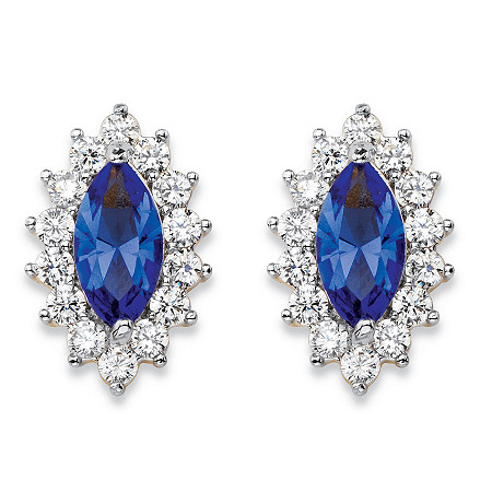 .98 TCW Marquise-Cut Blue Crystal and Cubic Zirconia Halo Stud Earrings 14k Yellow Gold-Plated at PalmBeach Jewelry