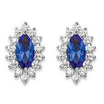 .98 TCW Marquise-Cut Blue Crystal and Cubic Zirconia Halo Stud Earrings 14k Yellow Gold-Plated