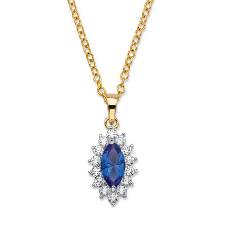 .49 TCW Marquise-Cut Blue Crystal and Cubic Zirconia  Halo Pendant Necklace 14k Yellow Gold-Plated 18