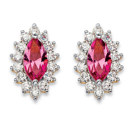 .98 TCW Marquise-Cut Pink Crystal and Cubic Zirconia Halo Stud Earrings 14k Yellow Gold-Plated at PalmBeach Jewelry
