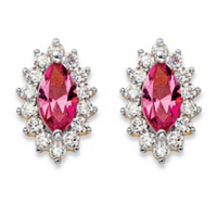Marquise-Cut Pink Crystal And Cubic Zirconia Halo Stud Earrings ONLY $5.99