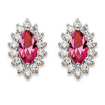 .98 TCW Marquise-Cut Pink Crystal and Cubic Zirconia Halo Stud Earrings 14k Yellow Gold-Plated