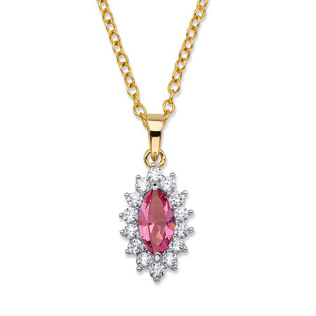 .49 TCW Marquise-Cut Pink Crystal and Cubic Zirconia Halo Pendant Necklace 14k Yellow Gold-Plated 18