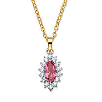 ".49 TCW Marquise-Cut Pink Crystal and Cubic Zirconia Halo Pendant Necklace 14k Yellow Gold-Plated 18""-20"""
