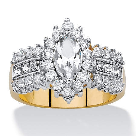 .89 TCW Marquise-Cut White Crystal and Cubic Zirconia  Halo Cocktail Ring 14k Yellow Gold-Plated at PalmBeach Jewelry