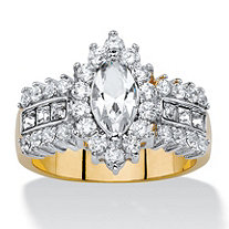 .89 TCW Marquise-Cut White Crystal and Cubic Zirconia  Halo Cocktail Ring 14k Yellow Gold-Plated