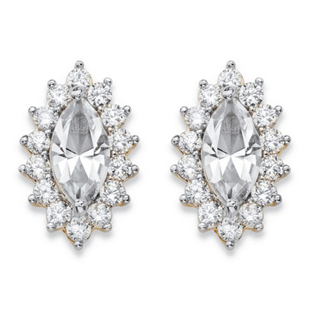 .98 TCW Marquise-Cut White Crystal and Cubic Zirconia Halo Stud Earrings 14k Yellow Gold-Plated at PalmBeach Jewelry
