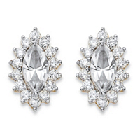 Marquise-Cut White Crystal And Cubic Zirconia Halo Stud Earrings 14k Yellow Gold-Plated ONLY $11.99