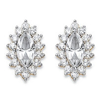 .98 TCW Marquise-Cut White Crystal and Cubic Zirconia Halo Stud Earrings 14k Yellow Gold-Plated