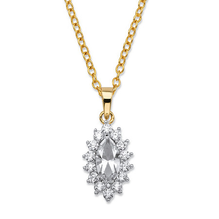 .49 TCW Marquise-Cut White Crystal and Cubic Zirconia Halo Pendant Necklace 14k Yellow Gold-Plated 18