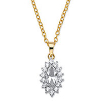 ".49 TCW Marquise-Cut White Crystal and Cubic Zirconia Halo Pendant Necklace 14k Yellow Gold-Plated 18""-20"""