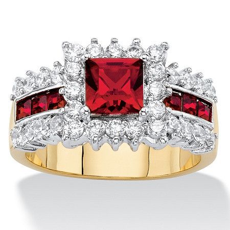 Princess-Cut Simulated Red Ruby and Cubic Zirconia Halo Cocktail Ring 2.80 TCW 14k Yellow Gold-Plated at PalmBeach Jewelry