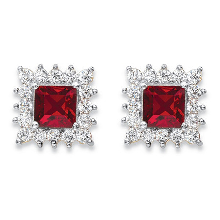 1.06 TCW Princess-Cut Ruby Red Crystal and White Cubic ZirconiaHalo Stud Earrings 14k Yellow Gold-Plated at PalmBeach Jewelry