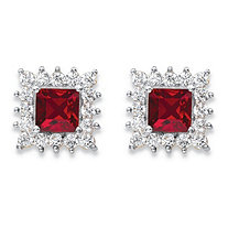 1.06 TCW Princess-Cut Ruby Red Crystal and White Cubic ZirconiaHalo Stud Earrings 14k Yellow Gold-Plated