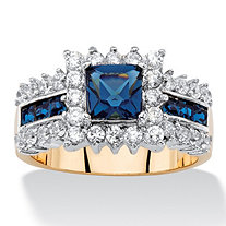 .93 TCW Princess-Cut Sapphire Blue Crystal and Cubic Zirconia Halo Cocktail Ring 14k Yellow Gold-Plated